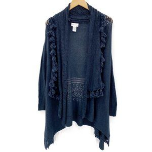 Soft Surroundings Wool Cashmere Fringe Cardigan